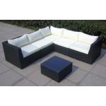Baidani 10c00022.00001 Designer Rattan Lounge-Garnitur Surprise, Sofa, Couchtisch mit Glasplatte, schwarz