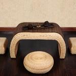 Im chinesischen Stil Piers Hand Rattan Stroh Kleine Hocker Tatami Couchtisch Hocker Thick Futon