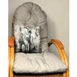Auflage / Polster für Schaukelstuhl , Liegestuhl , Ersatzpolster Gr. 130 x 50 x 12 cm, Fb. grau + Zierkissen 40 x 40 cm Kongo