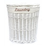 Shabby Chic weiß oval Rattan Wäschekorb mit Deckel und abnehmbarem Baumwolle Futter, Textil, Medium Laundry Basket