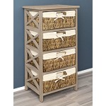 Landhaus Kommode Bad Flur Regal Highboard in Antik Braun mit 4 Rattan Körben