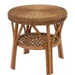 Rattan-Tisch / Beistelltisch Rund in der Farbe Vintage Braun - Versandkostenfrei in DE