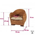 WSV : -36% Rattansessel Azur - Massivholzgestell - inkl. Sitzkissen (beige) - Braun