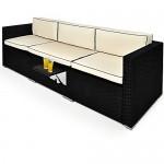 Poly Rattan Lounge Liege 6-fach verstellbar mit integriertem ausklappbarem Tisch und 20cm dicken Rückenpolster Sitzbank Sonnenliege Couch Gartenliege