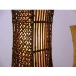 """Asiatische Nachttischlampe """"Konkav"""" Tischlampe aus Bambus und Rattan (Handarbeit) Tischleuchte E27 Fassung"""