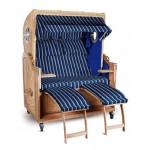 Strandkorb Kampen Spezial Blau gestreift Seiten blau 2,5-Sitzer Bullauge