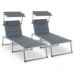 Blumfeldt Amalfi Noble Grey Gartenliege Sonnenliege 2er-Set (Sonnendach, 5-Stufig verstellbare Rückenlehne, witterungsbeständig , Polyester-Gittergewebe, Schaumstoff-Polsterung) grau