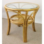Rattantisch, Rattan Tisch inkl. Glasplatte, Gr. D 66 cm H 63 cm