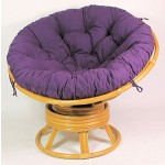 Rattan Papasan Drehsessel inkl. hochwertigen Polster Fb. violett, D 110 cm, Fb. Honig