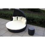 Baidani Fantasy Rattan Lounge-Doppelliege, schwarz, 178 x 178 x 93 cm