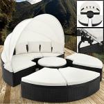 Deuba XXL Poly Rattan Sonneninsel Ø230 cm mit Dach 7cm Auflagen + Kissen Gartenliege Sitzgarnitur Lounge Gartenmöbel Set