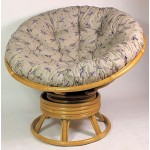 Rattan Papasan Drehsessel inkl. hochwertigen Polster Fb. Lavendel, D 110 cm, Fb. Honig