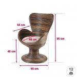 Rattansessel Tulip - französisches Design - inkl. Sitzkissen - Braun