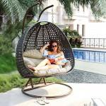Home Deluxe - Polyrattan Hängesessel - Twin braun - inkl. Gestell, Sitz- und Rückenkissen