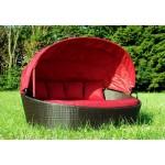 Großzügige Sonneninsel aus Poly Rattan mit Sonnendach - rot - Sonnenliege Rattanbett Lounge Gartenliege Liegeinsel Gartenmuschel Gartenlounge