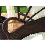Swing & Harmonie Polyrattan Sonneninsel Rattan Lounge Liege Insel Sonnenliege Gartenliege (210cm + Abdeckcover, Braun)