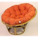 Rattan Papasan Sessel inkl. hochwertigen Polster , D 110 cm , Fb. honig , Polster Lachsfarben
