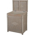 Wäschekorb mit Holzrahmen aus Rattan, Vintage Weiss - Versandkostenfrei in DE
