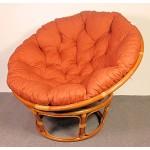Rattan Papasan Sessel inkl. hochwertigen Polster , D 110 cm , Fb. cognac . Pad Lachsfarben .