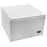 RS Trade 'Toscana' Polyrattan Beistelltisch mit verstärktem Alu-Gerüst und Temperglas Tischplatte (bis 90 kg als Hocker nutzbar), integrierte Spannbänder und höhenverstellbare Standfüße, Weiß
