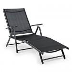 Blumfeldt Modena Sonnenliege Gartenliege (7-stufig verstellbare Rückenlehne, luftdurchlässige Bespannung, witterungsbeständig) schwarz