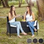 TecTake Sitzbank mit Tisch Poly Rattan Gartenbank Gartensofa inkl. Sitzkissen - Diverse Farben - (Schwarz-Braun | Nr. 401548)