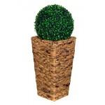 Geflecht-Pflanzsäule SDH17145 D Naturfaser MIT deko Buchsbaumkugel zusammenPflanzkübel Pflanzgefäße Blumenkübel Blumentopf für Blumen Naturfaser Rattan Optik inkl Zinksätze für Innen ,extra breit , Standfest. Fußbodenschonend Versch. Größen (Größe L 41 cm