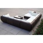 Baidani Gartenmöbel-Sets 10c00015.00002 Designer XXL Sofa Extreme, Hocker mit Auflage, Couch-Tisch mit Glasplatte, braun