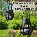 Gadgy ® Solar Laterne Set Rattan Optik | Braun Marmoriert Kunststoff | 2 Stück Tropfenform und Kugel Rund für Draußen | LED Tischleuchte Solarleuchte Garten Deko Lampe Windlicht