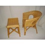 Sessel Stuhl NEU in der Farbe honig + Hocker Rattansessel mit Hocker