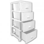 Rattan Kommode - Rattanmöbel - Korbkommode - Regal aus Kunststoff weiß