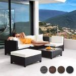 TecTake Hochwertige Aluminium Lounge mit 2 Bezugssets Poly-Rattan Sitzgruppe Sofa Rattanmöbel Gartenmöbel mit Edelstahlschrauben - Diverse Farben - (Schwarz)