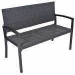 2-Sitzer Parkbank SAN REMO Alu Kunststoffgeflecht Bank Gartenbank Rattan Optik schwarz Sitzbank