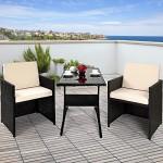 Deuba® Poly Rattan Sitzgruppe Cube 2+1 platzsparend - Balkon Set Balkonmöbel Set Gartenmöbel Sitzgarnitur
