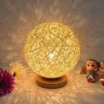 Zantec Tischlampe LED Rattan Ball dekorative Lampe Licht USB Lade Fashional Weihnachtsgeschenk