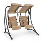 Blumfeldt • Skywalker • Hollywoodschaukel • Gartenschaukel • gemeinsames Schaukeln • dicke Sitzpolsterung • 250 kg max Belastbarkeit • 2 Sitze • 180 cm • mitschwingende Sonnendächer • pulverbeschichtetes Stahlrohr • verchromte Edelstahl-Federaufhängungen