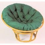Rattan Papasan Sessel inkl. hochwertigen Polster, D 110 cm, Fb. Honig, Polster dunkelgrün