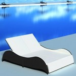 Festnight Doppel-Sonnenliege aus Poly-Rattan Relaxliege Gartenliege Lounge Outdoor-Liege 200 x 132 x 45 cm Schwarz