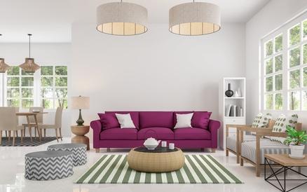 eingerichtete Zimmer mit rattan deckenlampen